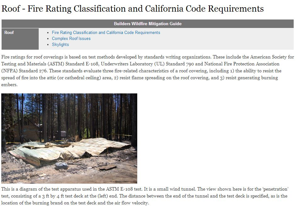 roof fire rating classification and california code requirements